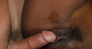 Wet Ebony amateur Jezabel giving a blowjob on her knees in the bathroom
