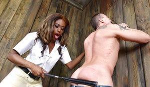 BDSM loving Ebony babe Maria Ryder has a fetish for spanking
