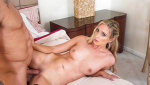Blonde pornstar Allie Eve Knox licking dick in black nylons and panties