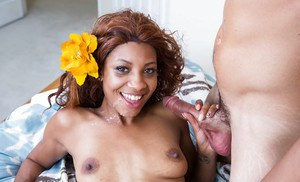 Black chick in pink leg warmers September rain blows white cock for cum