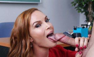 Redhead teacher Diamond Foxxx licks students big dick after class