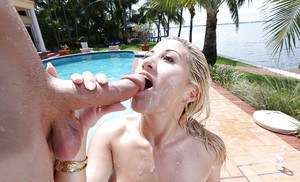 Blonde chick Cristi Ann Has her lovely ass covered in oil outdoors