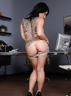 Buxom brunette Casey Cumz strips down to her pretty underwear in office
