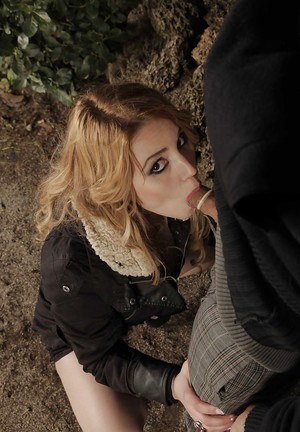 Blonde chick Hanna Montada forced to give blowjob in woods by security man