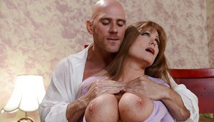 Busty housewife Darla Crane getting nailed in shaved cunt by huge cock