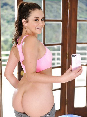 Cute babe Allie Haze working out in sports bra and yoga pants