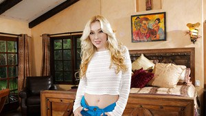 Blonde cutie Samantha Rone flashing sweet underboobage in solo poses