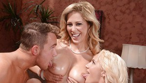 Blonde babe Cale Carter and Cherie Deville lick cock and cunt in FFM 3some