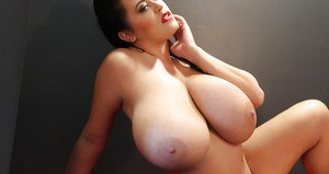 Massive chested big tit model Leanne Crow exposing huge melons