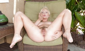 Short haired blonde first timer Nora Skyy licking boyfriend's fat dick
