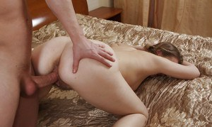 Young girl in pigtails Afradita playing with hairy cunt while giving bj