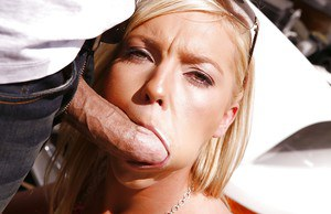 Young blonde pornstar Ally Kay taking cock and cum in mouth outdoors