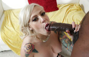 Big boobed blonde Vyxen Steel takes a big black dick in her shitter