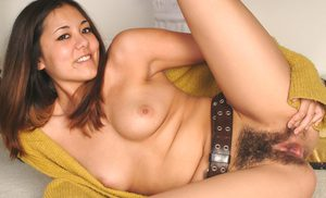 Asian first timer Tiffany showing off hairy muff in close up pics