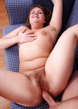 Chubby European amateur Nadia showing pink pussy under cunt hairs