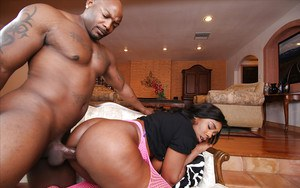 Black fatty Lisa Tiffian taking black cock in pussy and asshole