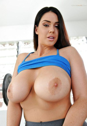Sporty babe Alison Tyler working out in spandex pants and flashing big tits