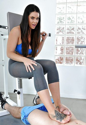 Beautiful foot model Alison Tyler shows off her foot tattoos