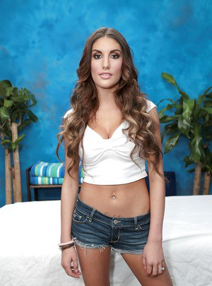 Young babe August posing fully clothed for casting couch debut