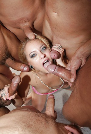 Blonde slut Cameron Canada gets brutally face fucked by group of cocks