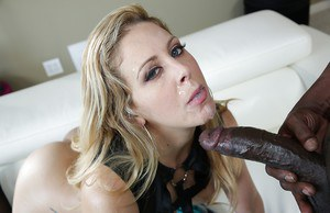 Blonde MILF Cherie Deville uses shaved pussy to ride a big black cock with