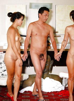 Asian chicks Angelina Chung and Olivia Wilder kiss before FFM threesome