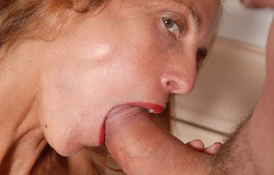 Skinny mature woman Sherry having nipples sucked and labia lips stretched