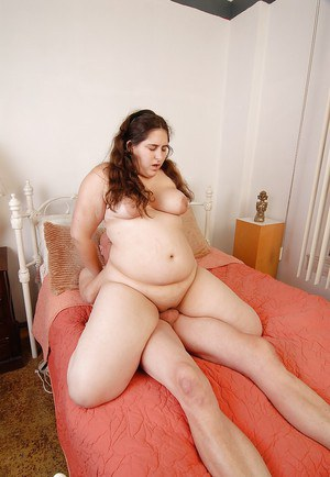 Fat chick Charlotte rides cock before jacking dick for cum eating action