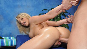 Blonde teenager Mia having perfect 18 year old tits oiled and massaged