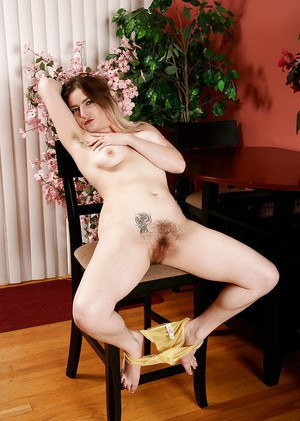 Hairy mature model Tink flashing hairy bush and unshaved legs