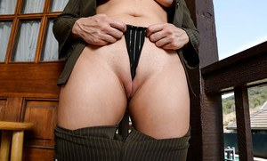 Hot older woman Zoey Tyler pulling her panties up cunt crack