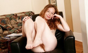 Older woman Ana Molly lets pubes peek out from underneath underwear