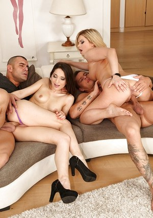 Foursome fucking action with Jimenga Lago and Angel Black taking the dick