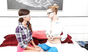 Nerdy young chicks tricked into having lesbian sexy with mom