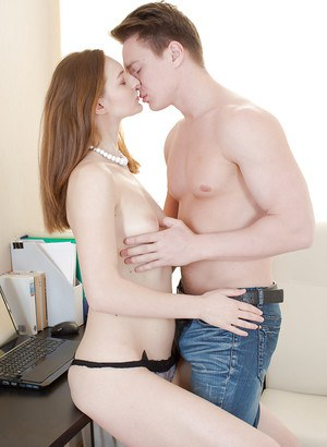 Young redhead Ariadna has her virgin asshole pounded by cock