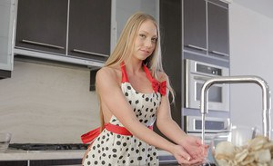 Hot blonde housewife Shawna Lee doing housework with bare ass showing