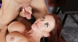 Cougar Janet Mason offers up her trimmed MILF pussy to younger man