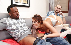 Hot chick Deanna Dare sucks off a black cock while cuckold hubby watches