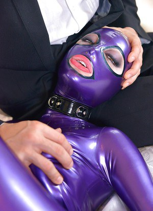 Hot Latex Lucy gets her curvy body grabbed and her tiny pussy fingered