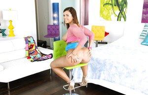 Amazing Keisha Grey poses in her slutty outfit before stripping
