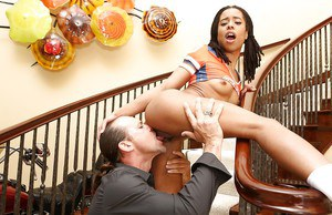 Ebony teen Kira Noir takes a gigantic cock into her tight pussy