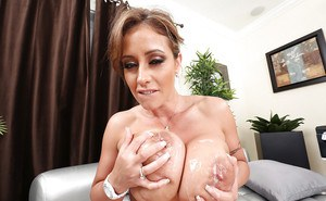 Large boobed mom Eva Notty exposing huge knockers and riding cock