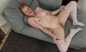 Horny Anya Volcov loves to play with her mature body and hairy pussy