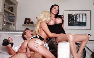 Maid and wife share her husband's big cock as they get pounded hard