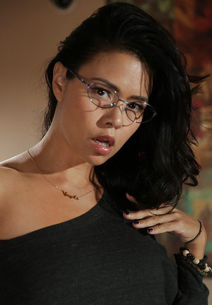 Geeky Dana Vespoli shows off her amazing Asian tits and ass