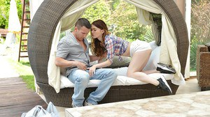 Beautiful Euro teen Misha Cross giving and receiving oral sex outdoors