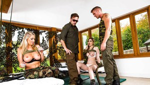 Military attired chicks Lexi Lowe and Stella Cox fuck in groupsex action