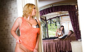 Busty blonde chick joins new bride and groom for threesome on wedding night