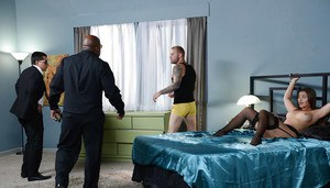 Handcuffed housewife Dani Daniels is forced to suck and fuck a black dick