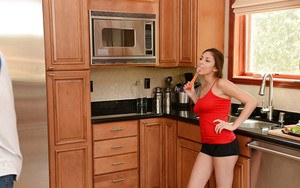 Naughty teen housewife Nina North being penetrated by vegetables in kitchen